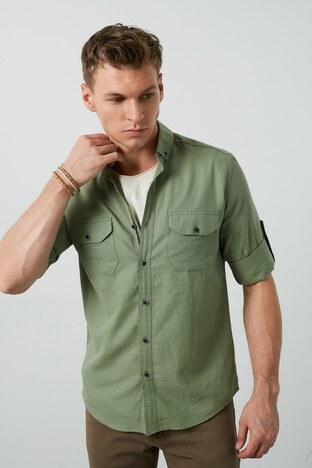 Buratti Cepli Düğmeli Yaka % 100 Pamuk Erkek Gömlek CF20S111241 HAKİ