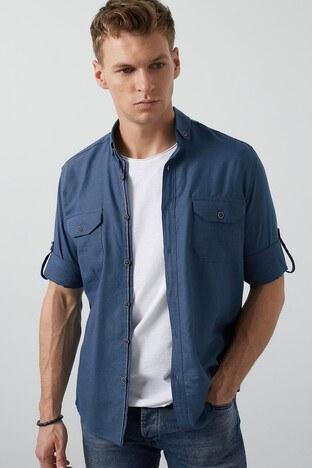 Buratti Cepli Düğmeli Yaka Erkek Gömlek CF20S111241 İNDİGO