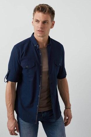 Buratti Cepli Düğmeli Yaka Erkek Gömlek CF20S111241 LACİVERT