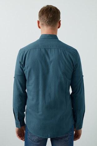 Buratti Cepli Düğmeli Yaka Erkek Gömlek CF20S111241 PETROL