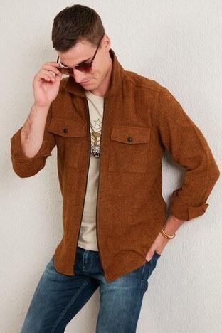 Buratti - Buratti Çift Cepli Fermuarlı Slim Fit Kışlık Gömle Erkek Gömlek CF21W112925 KAHVE