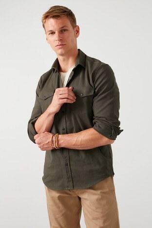 Buratti Çift Cepli Uzun Kollu Slim Fit Erkek Gömlek CF20S112425 HAKİ