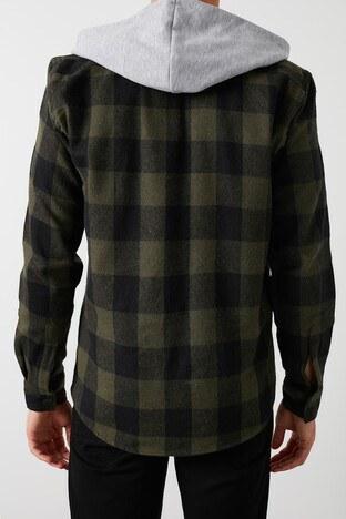 Buratti Çıkarılabilir Kapüşonlu Ekoseli Slim Fit K Erkek Gömlek CF21W112926 HAKİ