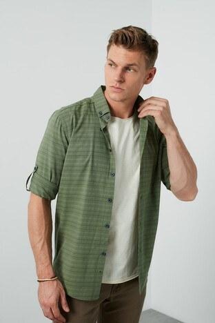 Buratti - Buratti Çizgili Düğmeli Yaka Slim Fit Erkek Gömlek CF20S112496 HAKİ