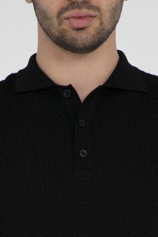 Buratti Düğmeli Polo Yaka Triko Erkek Kazak 4540004 SİYAH