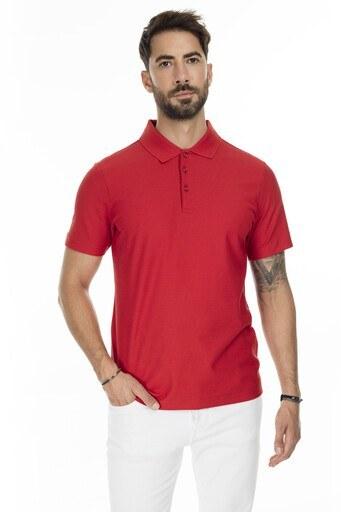 Buratti Pamuklu Düğmeli T Shirt Erkek Polo 566CF0012 KIRMIZI