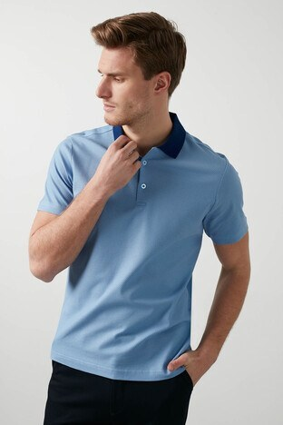 Buratti - Buratti Pamuklu Düğmeli T Shirt Erkek Polo 566CF0012 MAVİ-LACİVERT