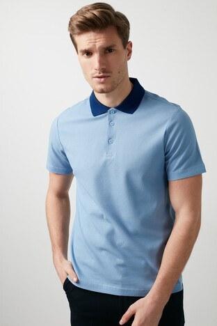 Buratti Pamuklu Düğmeli T Shirt Erkek Polo 566CF0012 MAVİ-LACİVERT