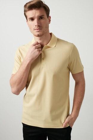 Buratti - Buratti Pamuklu Düğmeli T Shirt Erkek Polo 566CF0012 Saman