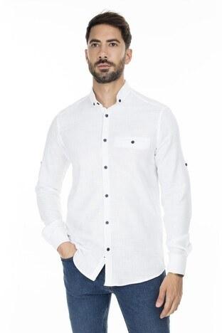 Buratti - Buratti Düğmeli Yaka Erkek Gömlek CF20S111498 BEYAZ