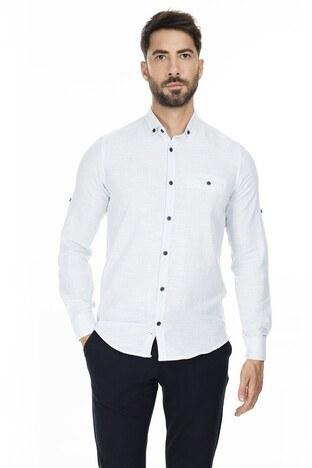 Buratti - Buratti Düğmeli Yaka Erkek Gömlek CF20S111498 MAVİ
