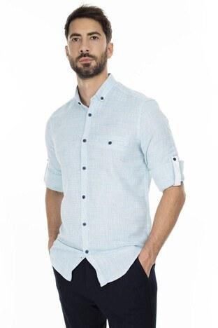 Buratti - Buratti Düğmeli Yaka Erkek Gömlek CF20S111498 TURKUAZ