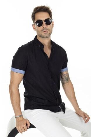 Buratti - Buratti Düğmeli Yaka Erkek Gömlek CF20S112546 SİYAH