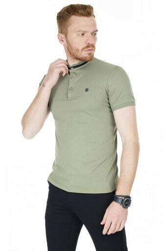 Buratti Düğmeli Yaka T Shirt Erkek Polo 4362081 AÇIK HAKİ