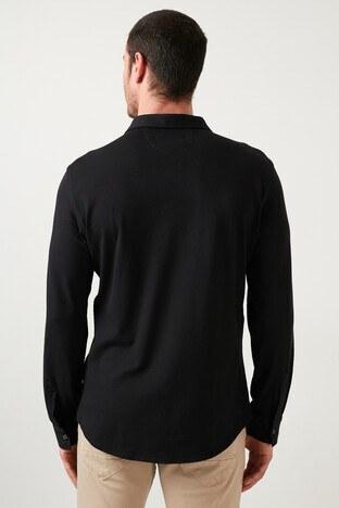 Buratti Düz Yaka Cepli Pamuklu Erkek Gömlek CF21S132717 SİYAH