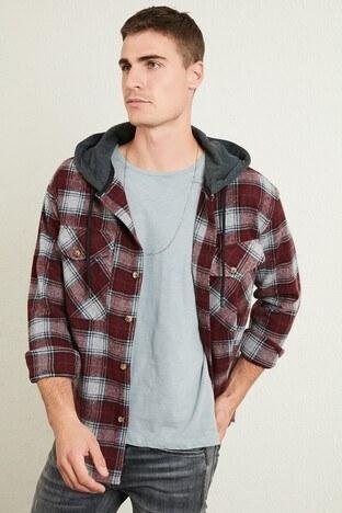 Buratti - Buratti Ekoseli Çift Cepli Kapüşonlu Oduncu Erkek Gömlek CF22W2650 BORDO
