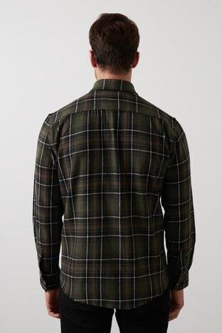 Buratti Ekoseli Çift Cepli Oduncu Erkek Gömlek CF21W112577 HAKİ