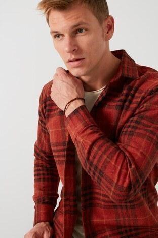 Buratti - Buratti Ekoseli Uzun Kollu Slim Fit Kışlık Erkek Gömlek CF21W112844 KİREMİT