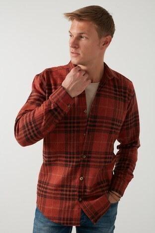 Buratti Ekoseli Uzun Kollu Slim Fit Kışlık Erkek Gömlek CF21W112844 KİREMİT
