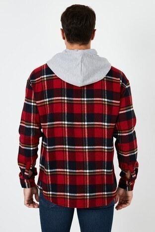 Buratti Ekoseli Çift Cepli Kapüşonlu Oduncu Erkek Gömlek CF22W2650 KIRMIZI