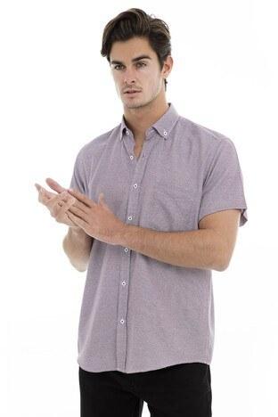 Buratti - Buratti Erkek Kısa Kollu Gömlek 50132 BORDO