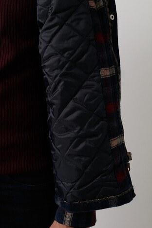 Buratti Fermuarlı Çift Cepli Ekoseli Erkek Ceket CF21W346001 LACİVERT