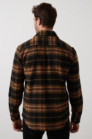 Buratti Fermuarlı Çift Cepli Ekoseli Erkek Gömlek CF21W112832 HARDAL