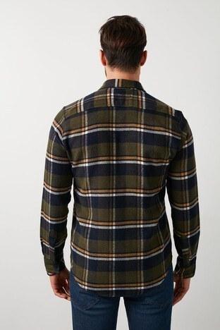 Buratti Fermuarlı Ekoseli Çift Cep Oduncu Erkek Gömlek CF21W113291 HAKİ