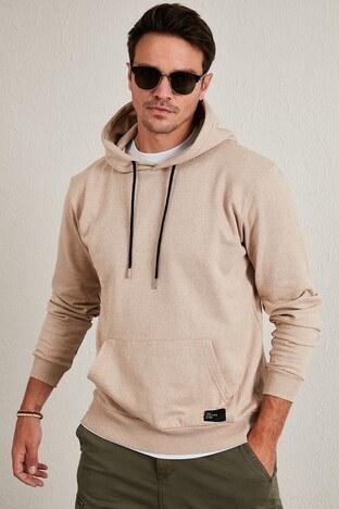 Buratti - Buratti Kanguru Cepli Şardonlu Slim Fit Kapüşonlu Kışlık Erkek Sweat 5975002 VİZON
