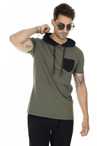 Buratti Kapüşonlu % 100 Pamuk Erkek T Shirt 5721002 HAKİ