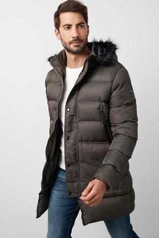 Buratti - Buratti Kapüşonlu Ekstra Slim Fit Uzun Erkek Mont 45619K5134M HAKİ