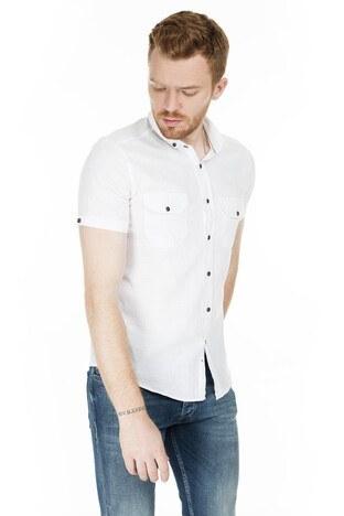 Buratti - Buratti Kısa Kollu Süper Slim Fit Erkek Gömlek CF20S111153 BEYAZ
