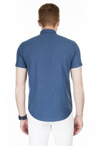 Buratti Kısa Kollu Süper Slim Fit Erkek Gömlek CF20S111153 İNDİGO