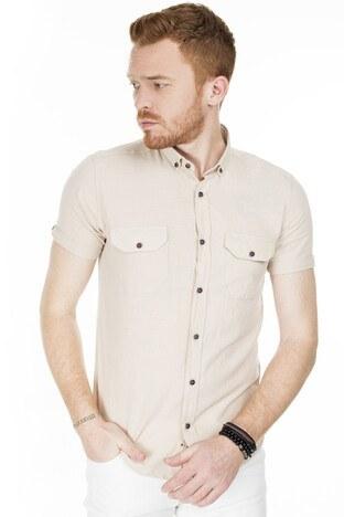 Buratti - Buratti Kısa Kollu Süper Slim Fit Erkek Gömlek CF20S111153 TAŞ