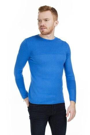 Buratti - Buratti Kolları Fermuar Detaylı Slim Fit Erkek Kazak 55617K6507 SAKS