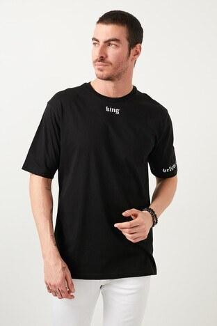 Buratti Oversize Yazı Baskılı Bisiklet Yaka % 100 Pamuk Erkek T Shirt 5721015 SİYAH