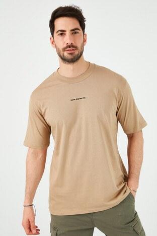 Buratti Oversize Yazı Baskılı Bisiklet Yaka % 100 Pamuk Erkek T Shirt 5721020 VİZON