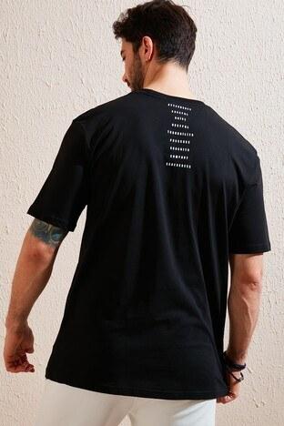 Buratti Oversize Yazı Baskılı Bisiklet Yaka % 100 Pamuk Erkek T Shirt 5721021 SİYAH