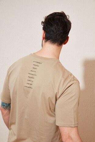 Buratti Oversize Yazı Baskılı Bisiklet Yaka % 100 Pamuk Erkek T Shirt 5721021 VİZON