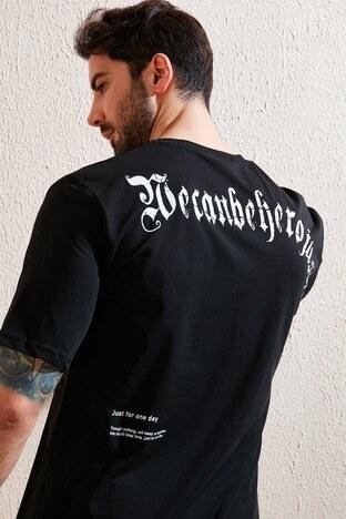 Buratti Oversize Yazı Baskılı Bisiklet Yaka % 100 Pamuk Erkek T Shirt 5721022 SİYAH