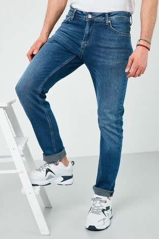 Buratti - Buratti Pamuklu Slim Fit Dar Paça Jeans Erkek Kot Pantolon 7508E188NEWARTOS MAVİ