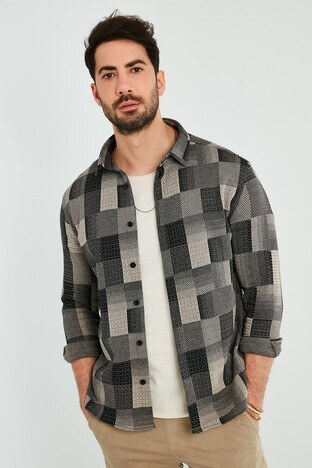 Buratti - Buratti Pamuklu Slim Fit Uzun Kollu Erkek Gömlek 5910084 BEJ