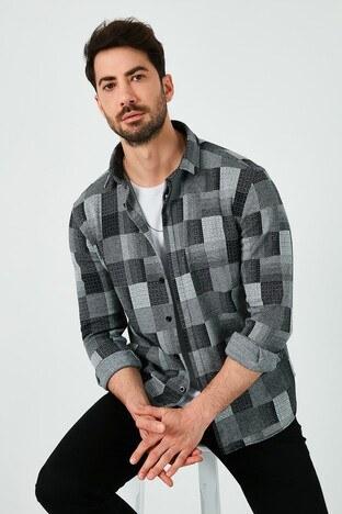 Buratti Pamuklu Slim Fit Uzun Kollu Erkek Gömlek 5910084 GRİ