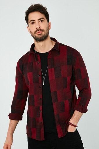 Buratti Pamuklu Slim Fit Uzun Kollu Erkek Gömlek 5910084 VİŞNE