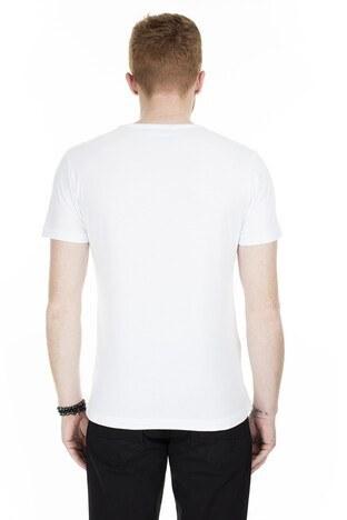Buratti Slim Fit Baskılı Bisiklet Yaka Erkek T Shirt ABY38107LNS BEYAZ