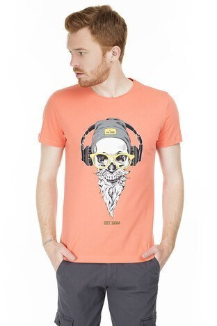 Buratti - Buratti Slim Fit Baskılı Bisiklet Yaka Erkek T Shirt ABY38107LNS ORANGE