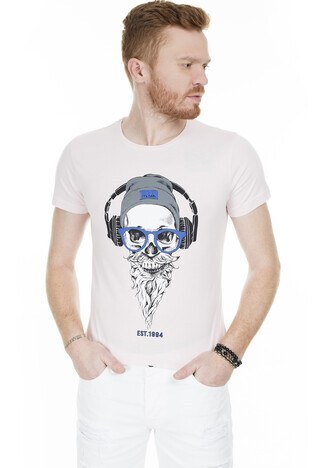 Buratti - Buratti Slim Fit Baskılı Bisiklet Yaka Erkek T Shirt ABY38107LNS PEMBE