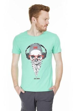 Buratti - Buratti Slim Fit Baskılı Bisiklet Yaka Erkek T Shirt ABY38107LNS YEŞİL