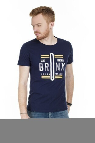 Buratti Slim Fit Baskılı Bisiklet Yaka Erkek T Shirt ABY38119LNS LACİVERT