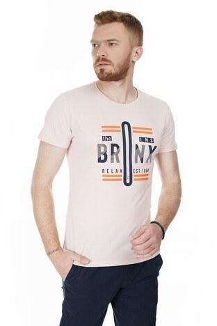 Buratti - Buratti Slim Fit Baskılı Bisiklet Yaka Erkek T Shirt ABY38119LNS PUDRA